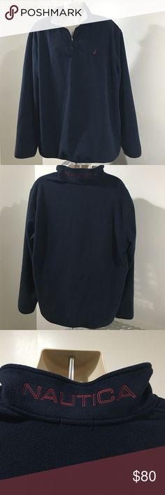 EUC Men's Nautica Pullover Fleece Jacket Navy Pre💙EUC • Men's Fleece Jacket • Pullover with 3/4 Zipper • Nautica • 100% Polyester • Navy Blue Inside of Neck is light gray with red border Nautica logo is in red • Comes from a smoke and pet free home • HAPPY POSHING💖 Nautica Jackets & Coats