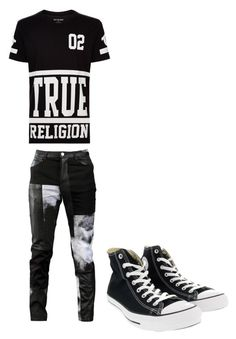 """blackandwhite"" by muamermrkovic ❤ liked on Polyvore featuring True Religion, Horace, Converse, men's fashion and menswear"