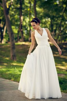 561893b21273 Boho Vintage Inspired A-Line Chiffon Wedding Dress with Deep V Cutout,  Draped Corset, Light Chiffon Skirt