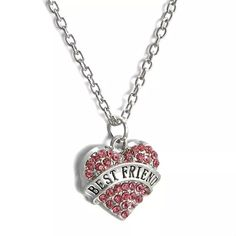 Best Friend Necklace Cute silver tone zinc alloy necklace. Chain is about 25 inches plus an additional 2 inch extender. This has pink rhinestones. New in package. Jewelry Necklaces