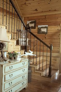 Some Country inspiration, Cabin Decorating - The Polkadot Chair Decor, Home, Knotty Pine Decor, Knotty Pine Walls, Cabin Decor, Home Remodeling, House Interior, Cottage Living, Cabin Style