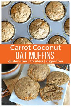 Ready for a new muffin recipe to start your week with? Check out these Carrot Coconut Oat muffins (Gluten-free, flourless, sugar-free). I LOVE MUFFINS!! | carrot muffins | coconut muffins | flourless muffins | sugar-free muffins |