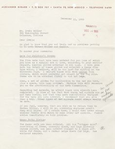 Letter from Girard to Irwin Miller, 1955, 1/4.  The Millers visited the Knoll and Herman Miller showrooms in New York to select furniture for the house. Writing to the Millers after their trip, Girard makes his case why the Eames Compact Sofa is the right sofa for the Millers. It seems the Millers had serious reservations about purchasing the sofa.
