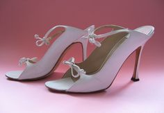 Vintage 90s Manolo Blahnik Claudia White High Heels