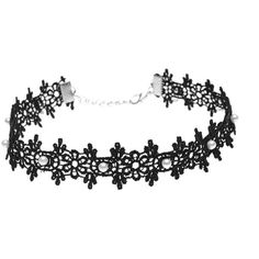 Lace Artificial Pearl Floral Choker Necklace ($2.52) ❤ liked on Polyvore featuring jewelry, necklaces, imitation jewelry, fake pearl necklace, artificial jewellery, choker necklace and lace necklace