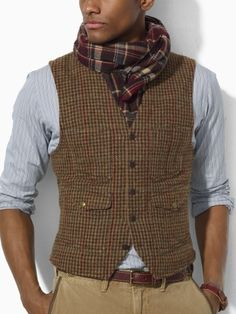 Tweed Vest - I love men& clothing that has texture. And tweed is one of my favorite fabrics. Ralph Lauren, one of my favorite designers. Sharp Dressed Man, Well Dressed Men, Looks Style, Looks Cool, Look Fashion, Mens Fashion, Fashion Outfits, Gothic Fashion, Stylish Men