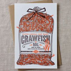 Paper Plates Press :: Letterpress Design House: Time to Sack Up: Fifth Annual Crawfish Boil Invitation
