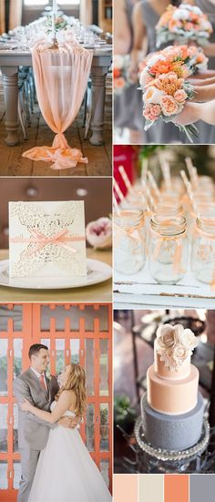 grey and peach wedding colors for 2017
