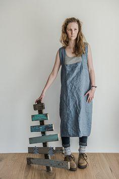 Linen pinafore / Square cross linen apron/ by notPERFECTLINEN