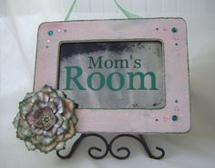 MOM'S ROOM antiqued mirror sign in pink and green by BusterJustis