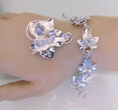 Sterling Silver Grapevine Brooch and Bracelet by EstateHeirlooms