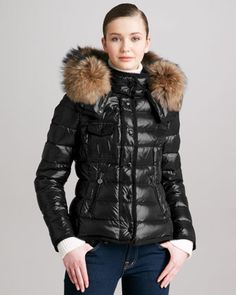 Short Puffer Jacket with Fur-Trimmed Hood by Moncler at Neiman Marcus.