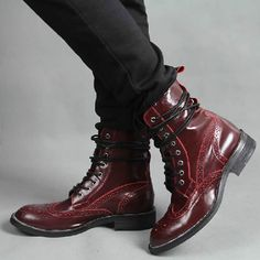 Men Burgundy Cowhide Patent Leather Dress Gothic Fashion Ankle Boots SKU-1100145