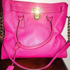 Michael Kors Hamilton Worn one time authentic Michael Kors Hamilton hot pink large bag comes with dustbag great condition Michael Kors Bags Totes