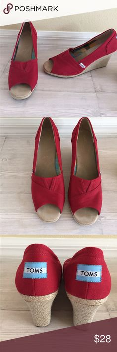 TOMS Red Platform Espadrilles Size 9. TOMS Red Platform Espadrilles in Size 9. Good, lightly used condition! See pics for measurement of heel height. Toms Shoes Espadrilles