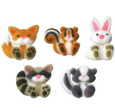 These cute woodland animals make great cupcake decorations. You get a fox, squirrel, bunny, racoon and a skunk. These edible sugar animals measure to and you get one of each animal per order for a total of 5 woodland animals. Birthday Cookies, Birthday Favors, Birthday Ideas, Third Birthday, Birthday Parties, Cupcake Party, Cupcake Cookies, Cupcake Toppers, Woodland Creatures