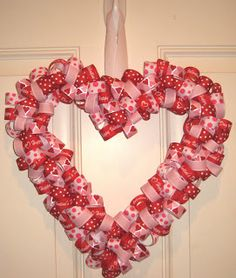Valentine's Heart Wreath made from ribbon