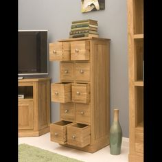 this mobel oak multi drawer dvd cd storage chest is a part of mobel