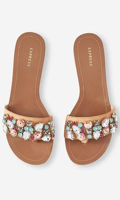 JEWELED WIDE STRAP THONG SANDAL | Express