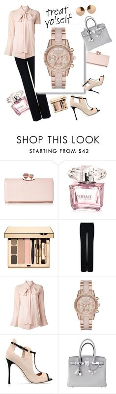 """""""excellent treat"""" by ekaterinaaivazyan ❤ liked on Polyvore featuring Ted Baker, Versace, STELLA McCARTNEY, Chloé, MICHAEL Michael Kors, Sergio Rossi, Hermès and Linda Farrow"""
