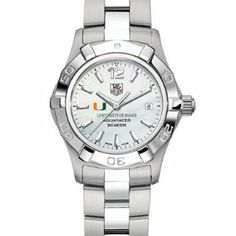 "University of Miami Women's TAG Heuer Steel Aquaracer Watch with Mother of Pearl Dial by TAG Heuer. $1995.00. Unique TAG Heuer presentation box.. Authentic TAG Heuer watch only at M.LaHart & Co.. Swiss-made Quartz movement.. TAG Heuer international two-year warranty. Officially licensed by the University of Miami. University of Miami TAG Heuer women's Aquaracer watch with U logo; ""University of Miami"" is written underneath. White mother of pearl dial with polished mar..."