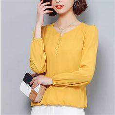 e6e5bc4b61 Novo 2018 Blusa Chiffon Camisa Mulheres Outono Sólida Tops Mais tamanho 4XL  de Manga Longa Moda