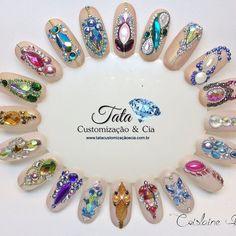 Swarovski Nails, Crystal Nails, Rhinestone Nails, Bling Nails, Bridal Nails Designs, Diy Nail Designs, Gem Nails, Hair And Nails, Diamond Nail Art
