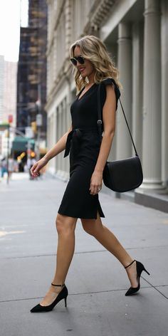 e39415440d55 Click for outfit details! Classic black sheath dress + ankle strap black  pumps  Eliza