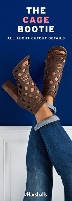 Not your everyday booties! The open toe and caged, cutout texture are perfect for summer nights out when your feet need to breathe. Plus, you can wear them to transition any outfit from summer into fall! The chunky heel adds comfort and elevates your look. These brown caged booties pair perfectly with denim. Just roll your dark skinnies and show off those shoes! Visit Marshalls today to find your new favorite booties.