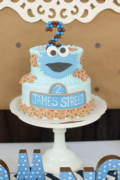 Cookie Monster Birthday Party Cake!  See more party ideas at CatchMyParty.com!