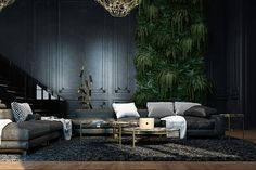 abandoned-fortress-living-room-luscious-green-wall-panel-distressed-leather-couches