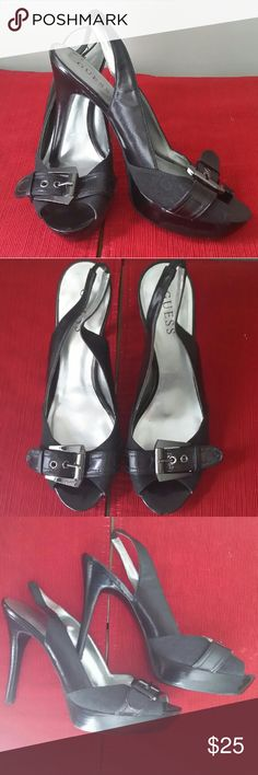 **On Sale** Guess Slingback Pumps Gorgeous Guess Slingback Pumps with a black chrome buckle. Brand new never worn GUESS Shoes Heels