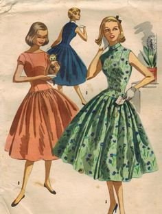1950s McCall's 3479 Vintage Sewing Pattern Teen's Dress via Etsy.