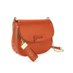 Studded Beauty Chain Strap Crossbody Bag, Orange, hires