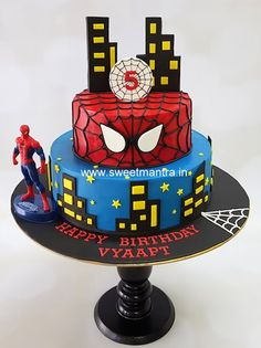 Spiderman theme 2 tier fondant cake for boys birthday - cake by Sweet Mantra - Customized cakes, Designer Wedding/Engagement cakes in Pune Spiderman Birthday Cake, Spiderman Theme, 3rd Birthday Cakes, Novelty Birthday Cakes, Superhero Cake, Men Birthday, Birthday Gifts, Happy Birthday, Themed Cakes