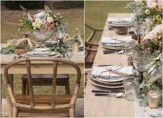 Table Setting. Heather Durham Photography Hunting Lodge Wedding Styled Shoot, Wedding Guest Table at Sawtooth Plantation, Planning by Invision Events, Floral Design by Thorne & Thistle, Styling by Heather Durham and Lisa Thorne.