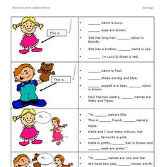 This is a gap fill worksheet for practising the possessive adjectives myyourhisheritsourtheir. It is pretty self-explanatory. Students see pictures of girls, boys, a cat and fill in the corr English Grammar, Teaching English, Learn English, Pre K Math Worksheets, Prepositions, Preschool, Names, Learning, White Marble
