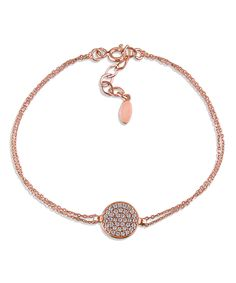 Cubic Zirconia & Rose Gold Circle Bracelet Mimi & Max $21.99 $60.00  Cubic zirconia crystals illuminate a petite pendant. Doubled-up chains add to the simply elegant appeal of this sterling silver bracelet, boasting a warm pink finish.     7'' L     Circle: 0.4'' diameter     Spring ring clasp     Pink rhodium-plated sterling silver / cubic zirconia     Carat: 0.6 tw cubic zirconia