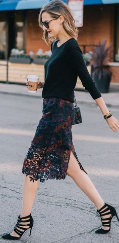 See Anna Jane Two Tones Lace Skirt Fall Streetstyle Inspo