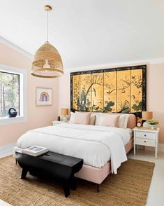 Londo Lodge Guest Bedroom: Creating a Space That Is Wild Without Going Overboard... + The 3 Decor Elements That Can Make A Space POP!  - Emily Henderson Lodge Bedroom, Guest Bedroom Decor, Master Bedroom, Bedroom Paint Colors, Home Deco, Interior Design, Space, Bedrooms, Cleaning