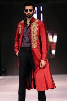 Maheen Khan Red Leather, Leather Jacket, Achkan, Sherwani, Jodhpur, Turkish Actors, Groomsmen, Indian, Blazer