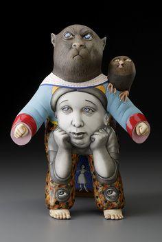 "Sergei Isupov, ""Something to Think About"" 2015, porcelain, slip, glaze, 14 x 10.5 x 10.5""."