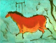 Elaine Hautman's Cave Painting of Orange Horse on Teal Background.