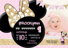 Minnie Mouse Birthday Party Invitation Invite Pink and Gold Glitter Minnie Mouse Pink, Minnie Mouse Party, Mouse Parties, Minnie Mouse Birthday Invitations, Birthday Party Themes, Birthday Ideas, Party Bunting, Pink Quilts, Twin Birthday