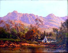 de Jong, Tinus - House by river Love Art, All Art, Landscape Art, Landscape Paintings, Cape Dutch, South African Artists, Art Studies, Artist Painting, Beautiful Paintings