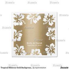 Tropical Hibiscus Gold Background Elegant Wedding