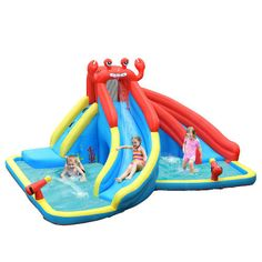 Get this Costway Inflatable Water Slide Crab Dual Slide Bounce House Splash Pool at Walmart for only $539.99 (reg. $909.99). You save 41% off the retail price for this backyard water slide. Plus, this item ships free. Deal may expire soon. Inflatable Water Park, Inflatable Bounce House, Inflatable Bouncers, Water Slide Bounce House, Blow Up Pool, Water Slides, Pool Slides, Water Cannon, Outdoor Play Equipment