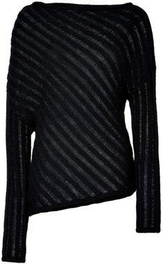 Donna Karan New York Black Black Diagonal Knit Mohairblend Pullover
