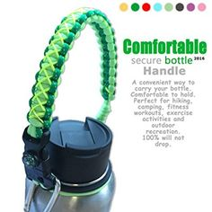 QeeLink Handle for Hydro Flask - Secure Design - Wide Mouth Water Bottles Carrier - Includes Paracord Survival Strap with Compass Fire Starter Whistle - Perfect For Outdoor Bottle Carrier (Glow Green)