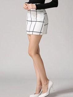 Plaid Bodycon White Skirt